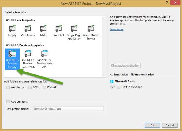 new-project-select-empty-aspnet5-template