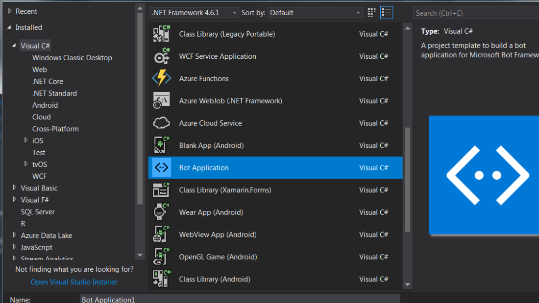 Create your first Bot using Visual Studio 2017: Step by step guide