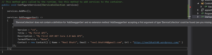 Enable Swagger in your  Net core 2 0 application: Step by